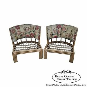 Vintage Art Deco Pair Of Bamboo Rattan Lounge Chair Frames