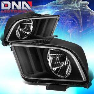 For Ford Mustang 2005 2009 Black Housing Euro Crystal Clear Headlights Lamp