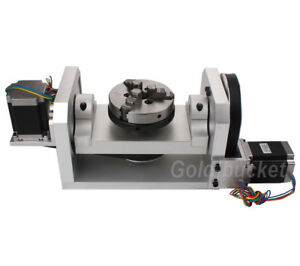 Cnc Router Rotary Table Rotational Axis 4th 5th Axis A B Axis 100mm Chuck 3 Jaw