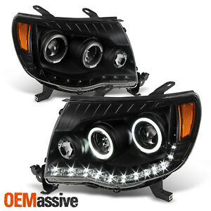 Fits 05 11 Toyota Tacoma Black Halo Projector Led Headlights Lh Rh Set 2005 2011