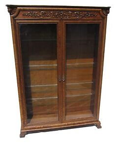 19th C Victorian Tiger Oak Carved Antique Bookcase China Cabinet
