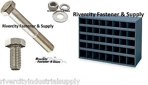 Stainless Bolt Nut Flat Lock Washer Assortment Kit 1496 With 40 Hole Bolt Bin