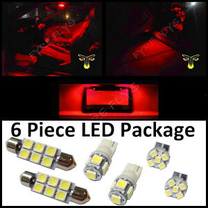 6 Red Led Interior Lights Package T10 42mm Map Dome License Plate Lamp G2r