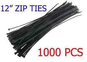 1000 Pcs Pack 12 Inch Network Cable Cord Wire Tie Strap 60 Lbs Zip Nylon Black