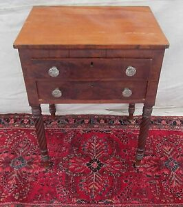 19th C Federal Period Antique Mahogany Nightstand Work Table Sandwich Glass