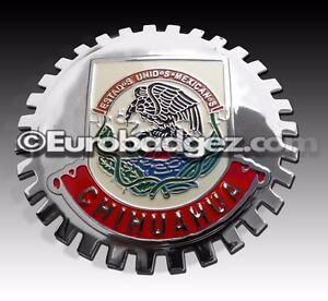 1 New Chrome Front Grill Badge Mexican Flag Spanish Mexico Medallion Chihuahua