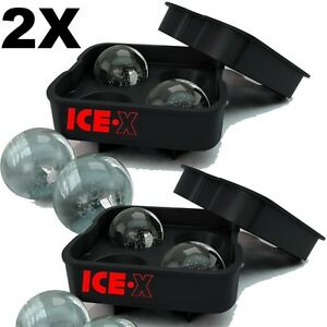 2X Round ICE Ball Maker Sphere Tray Mold Cube Whiskey Balls Cocktails Silicone