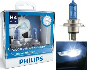 Philips Diamond Vision White 5000k 9003 Hb2 H4 60 55w Head Light Bulb High Low