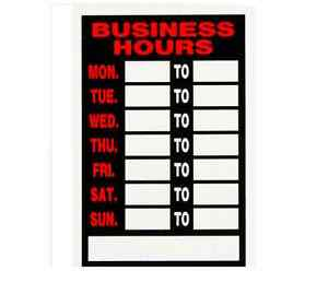 9 X 12 Business Hours Sign For Retail Shops Stores Restaurants Write In Times