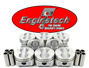4 00 Bore Flat Top Pistons W Pins For Chevrolet Sbc 350 Std 020 030 040 060