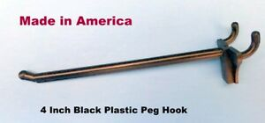 100 Pack 4 Inch Black Plastic Peg Hooks For 1 8 To 1 4 Pegboard Made In Usa