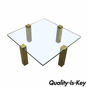 The Brass Collection Modern Floating Glass Brass Coffee Table Pace Style Vtg