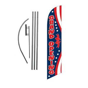 Grand Opening red w blue 15 Feather Banner Swooper Flag Kit With Pole spike