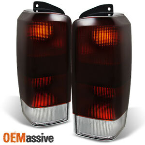 Fit 97 01 Jeep Cherokee Dark Red Tail Lights Brake Lamps Replacement L R