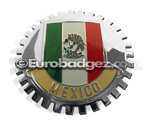 1 new Chrome Front Grill Badge Mexican Flag Spanish Bandera Mexico Medallion Gwr