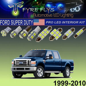 10x White Led Interior Lights Pro Package 1999 2010 Ford F250 F350 Super Duty