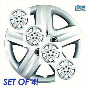 Set Of 4 Silver 17 5 Lug Hubcaps W Metal Clip Retention System Iwc431 17s