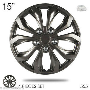 New 15 Hubcaps Abs Gunmetal Finish Performance Wheel Covers For Vw 555