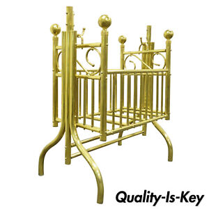 Vintage Brass Infant Cradle Rocking Crib Victorian Corsican Cygnet Style