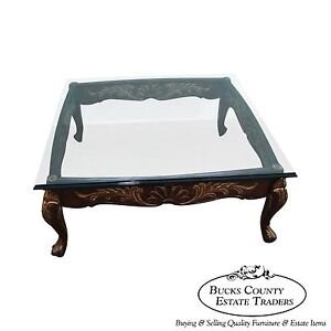 Quality Solid Mahogany French Style Carved Gilded Glass Top Coffee Table