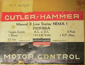 Cutler Hammer Toggle Switch Manual Starter 2 Pole 115 230v Ac Dc 9101h80a