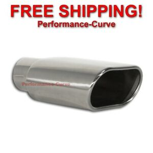 Stainless Steel Exhaust Tip Rolled Oval Slant 2 5 Inlet 5 5 X 3 Outlet