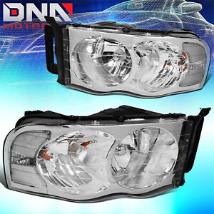 For Dodge Ram 2002 2005 1500 2500 Chrome Housing Clear Euro Crystal Headlights