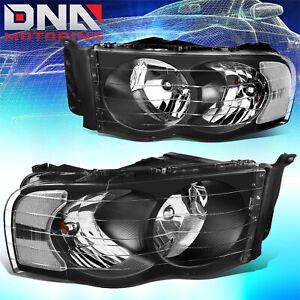 For Dodge Ram 2002 2005 1500 2500 Black Housing Clear Euro Crystal Headlights