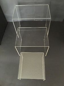 Set Of 3 Acrylic Plastic Clear Riser Stand To Display 6 8 10 Fixtures Jewelry