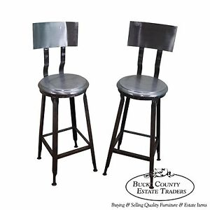 Heavy Industrial Steel Pair Of Bar Stools A