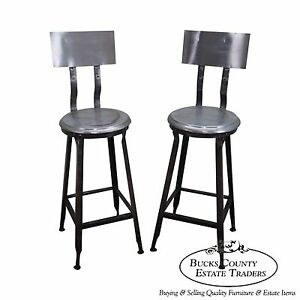 Heavy Industrial Steel Pair Of Bar Stools C