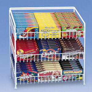 3 Tier Shelf Counter Top Snack Potato Chip Candy Display Rack 24 H White