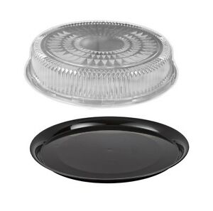 12 Flat Black Plastic Catering Tray W dome Lid 10 Sets Disposable Party Trays