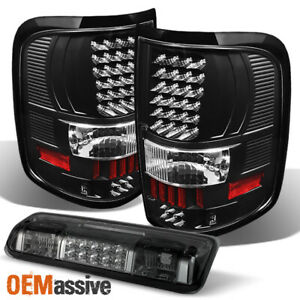 For 04 08 Ford F 150 Black Led Tail Lights Smoked Led 3rd Brake Lamp 2004 2008