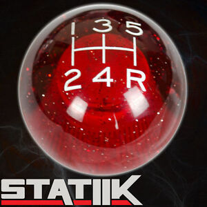 Statiik Red Sparkle Shift Knob For 5 Speed Short Throw Shifter Lever 12x1 25