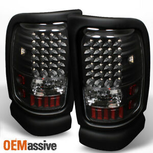 Fits 94 01 Dodge Ram Pickup Black Led Tail Lights Lamps Left Right