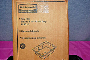 1 box Of 6 Rubbermaid fg125p00 Clear 1 2 Size 6 Food Pans s5160