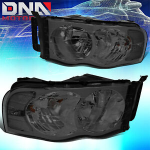 For 2002 2005 Dodge Ram 1500 2500 3500 Smoked Lens Clear Corner Headlight Lamps