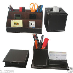 4pcs set Brown Business Desk Leather Stationery Organizer Box Pens Cards Holder