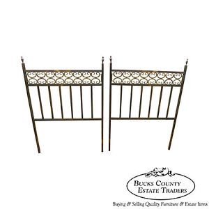 Hollywood Regency Vintage Pair Of Custom Brass Twin Size Bed Headboards