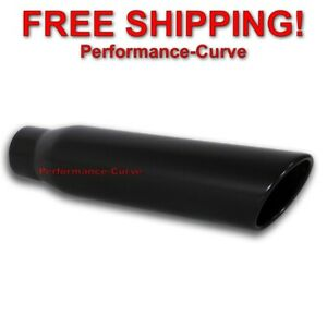 Black Stainless Steel Exhaust Tip 3 Inlet 4 Outlet 18 Long