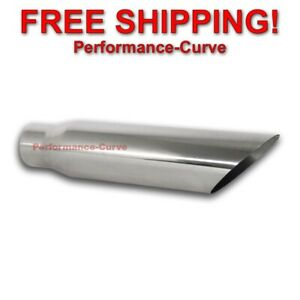 Stainless Steel Exhaust Tip Angle Cut 3 Inlet 4 Outlet 18 Long