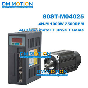 4n m 1 0kw 1000w 220v Ac Servo Motor 80st m04025 Servo Driver With 3meter Cable