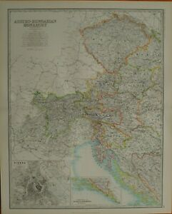 1887 Large Victorian Map Austro Hungarian Monarchy Western Vienna Environs