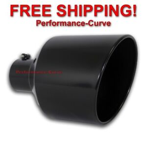Black Diesel Stainless Steel Bolt On Exhaust Tip 4 Inlet 10 Out 15 Long