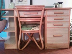 Vintage Original Mid Century Modern Hawaiiana Desk And Chair