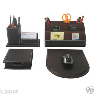Business 4pcs set Brown Leather Desk Stationery Organizer Box Pens Cards Holder