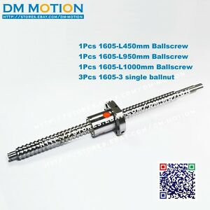 1605 Ball Screws L450 950 1000mm c7 Anti Backlash Rolled Ballscrew 3pcs Ball Nut