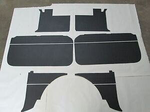 New 6 Piece Interior Panel Set W Door Panels Mgb 1965 1967 Black W White Piping