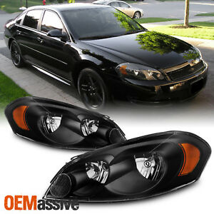 Fit 06 13 Chevy Impala monte Carlo Black Replacement Headlights Headlamps L r